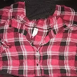 A flannel pattern button up t-shirt